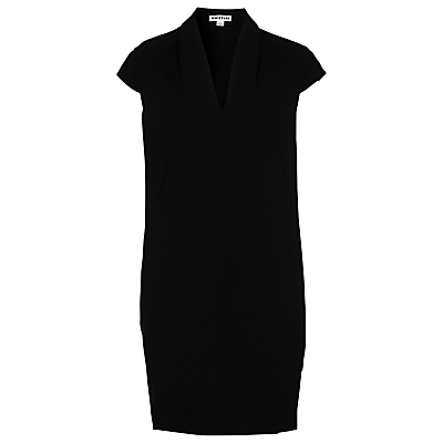 Paige V Neck Crepe Dress, Black - style: shift; neckline: v-neck; sleeve style: capped; pattern: plain; predominant colour: black; occasions: evening; length: just above the knee; fit: body skimming; fibres: polyester/polyamide - 100%; sleeve length: short sleeve; texture group: crepes; pattern type: fabric; season: s/s 2016