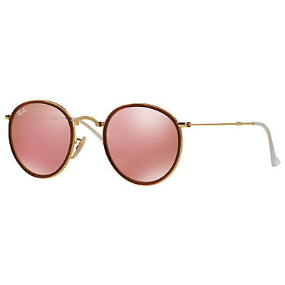 Rb3517 Round Folding Sunglasses - predominant colour: burgundy; secondary colour: gold; style: round; size: standard; material: chain/metal; pattern: plain; occasions: holiday; finish: plain; season: s/s 2016; wardrobe: highlight