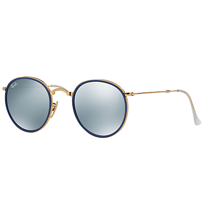 Rb3517 Round Folding Sunglasses - predominant colour: gold; occasions: casual, holiday; style: round; size: standard; material: chain/metal; pattern: plain; finish: plain; season: s/s 2016; wardrobe: basic