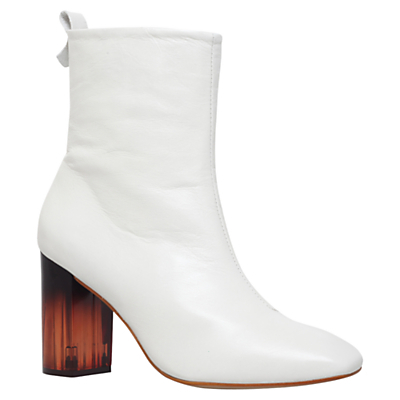 Strut Block Heeled Ankle Boots - predominant colour: white; occasions: casual, evening; material: leather; heel height: high; heel: block; toe: pointed toe; boot length: ankle boot; style: standard; finish: plain; pattern: plain; season: s/s 2016; wardrobe: highlight