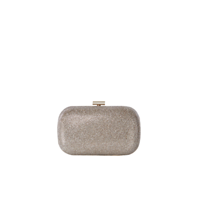 Signature Glitter Clutch - predominant colour: gold; occasions: evening, occasion; type of pattern: standard; style: clutch; length: hand carry; size: small; material: faux leather; embellishment: glitter; pattern: plain; finish: metallic; season: s/s 2016; wardrobe: event