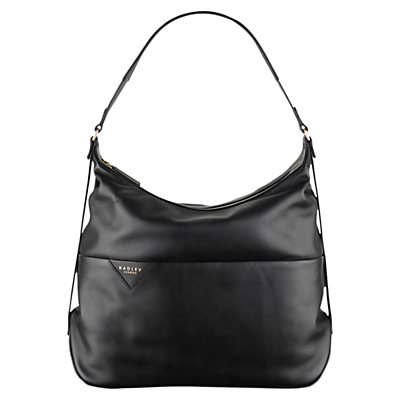 Thurloe Large Leather Hobo Bag - predominant colour: black; occasions: casual, work, creative work; type of pattern: standard; style: shoulder; length: shoulder (tucks under arm); size: standard; material: leather; pattern: plain; finish: plain; season: s/s 2016; wardrobe: investment