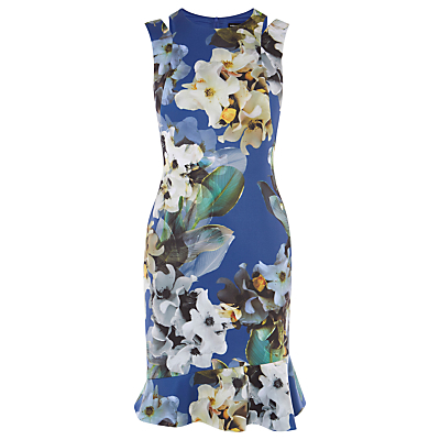 Digital Floral Print Dress With Asymmetric Hem, Blue/Multi - style: shift; fit: tailored/fitted; sleeve style: sleeveless; secondary colour: ivory/cream; predominant colour: diva blue; occasions: evening, occasion; length: just above the knee; fibres: polyester/polyamide - stretch; neckline: crew; sleeve length: sleeveless; pattern type: fabric; pattern size: big & busy; pattern: florals; texture group: woven light midweight; multicoloured: multicoloured; season: s/s 2016; wardrobe: event