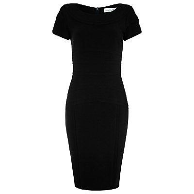 Petal Dress, Black - style: shift; neckline: round neck; fit: tailored/fitted; pattern: plain; hip detail: fitted at hip; predominant colour: black; occasions: evening, occasion; length: just above the knee; fibres: polyester/polyamide - stretch; sleeve length: short sleeve; sleeve style: standard; texture group: crepes; pattern type: fabric; season: s/s 2016; wardrobe: event