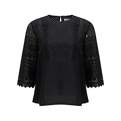 Lace Top - neckline: round neck; pattern: plain; predominant colour: black; length: standard; style: top; fibres: cotton - 100%; occasions: occasion; fit: body skimming; sleeve length: 3/4 length; sleeve style: standard; texture group: cotton feel fabrics; pattern type: fabric; embellishment: lace; season: s/s 2016; wardrobe: event
