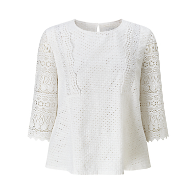 Lace Top - neckline: round neck; pattern: plain; predominant colour: white; occasions: casual, creative work; length: standard; style: top; fibres: cotton - 100%; fit: body skimming; sleeve length: 3/4 length; sleeve style: standard; texture group: cotton feel fabrics; pattern type: fabric; embellishment: lace; season: s/s 2016; wardrobe: highlight