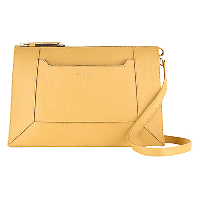 Hardwick Medium Leather Across Body Bag, Yellow - predominant colour: mustard; occasions: casual, creative work; type of pattern: standard; style: shoulder; length: across body/long; size: standard; material: leather; pattern: plain; finish: plain; season: s/s 2016; wardrobe: highlight