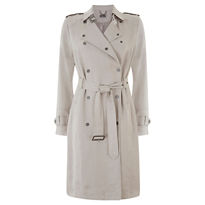 Textured Trench Coat, White - pattern: plain; shoulder detail: obvious epaulette; style: trench coat; collar: standard lapel/rever collar; length: mid thigh; predominant colour: stone; occasions: work, creative work; fit: tailored/fitted; fibres: polyester/polyamide - 100%; waist detail: belted waist/tie at waist/drawstring; sleeve length: long sleeve; sleeve style: standard; texture group: cotton feel fabrics; collar break: medium; pattern type: fabric; season: s/s 2016; wardrobe: highlight