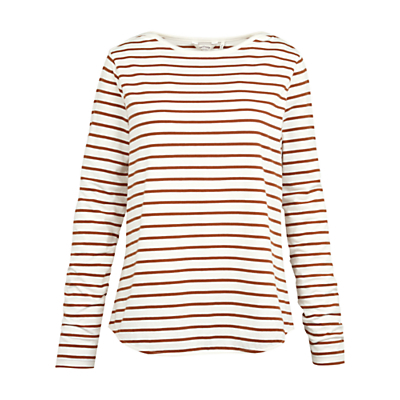 Breton Stripe Top - neckline: round neck; pattern: horizontal stripes; secondary colour: white; predominant colour: bronze; occasions: casual, creative work; length: standard; style: top; fibres: cotton - stretch; fit: body skimming; sleeve length: long sleeve; sleeve style: standard; pattern type: fabric; texture group: jersey - stretchy/drapey; pattern size: big & busy (top); season: s/s 2016