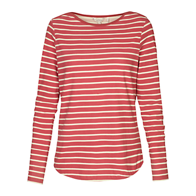 Breton Stripe Top - neckline: round neck; pattern: horizontal stripes; secondary colour: ivory/cream; predominant colour: bright orange; occasions: casual, creative work; length: standard; style: top; fibres: cotton - stretch; fit: body skimming; sleeve length: long sleeve; sleeve style: standard; pattern type: fabric; pattern size: standard; texture group: jersey - stretchy/drapey; season: s/s 2016; wardrobe: highlight