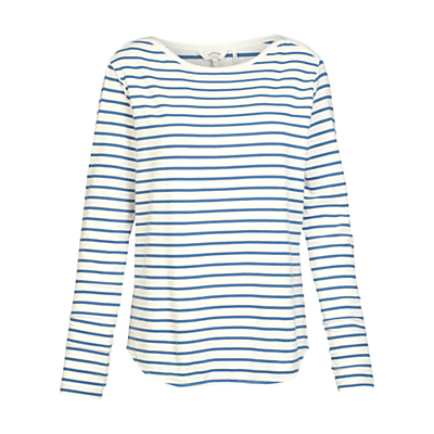 Breton Stripe Top - neckline: round neck; pattern: horizontal stripes; predominant colour: white; secondary colour: diva blue; occasions: casual, creative work; length: standard; style: top; fibres: cotton - stretch; fit: body skimming; sleeve length: long sleeve; sleeve style: standard; pattern type: fabric; pattern size: standard; texture group: jersey - stretchy/drapey; season: s/s 2016; wardrobe: highlight