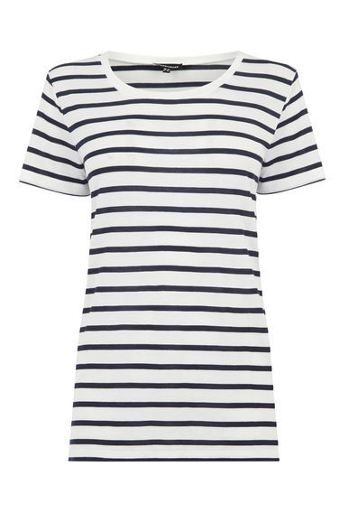 Stripe Classic Tee - pattern: horizontal stripes; style: t-shirt; predominant colour: white; secondary colour: black; occasions: casual; length: standard; fibres: viscose/rayon - 100%; fit: body skimming; neckline: crew; sleeve length: short sleeve; sleeve style: standard; pattern type: fabric; texture group: jersey - stretchy/drapey; multicoloured: multicoloured; season: s/s 2016; wardrobe: basic