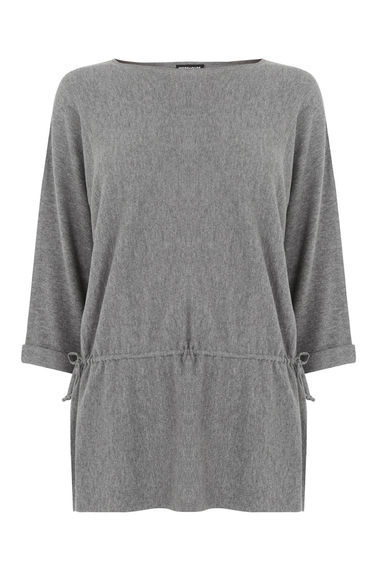 Drawstring Slouchy Jumper - pattern: plain; length: below the bottom; style: standard; predominant colour: light grey; occasions: casual, creative work; fibres: cotton - mix; fit: slim fit; neckline: crew; waist detail: belted waist/tie at waist/drawstring; sleeve length: 3/4 length; sleeve style: standard; pattern type: fabric; texture group: jersey - stretchy/drapey; season: s/s 2016; wardrobe: highlight