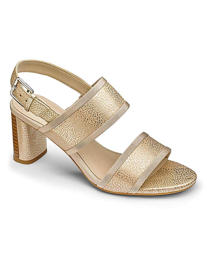 Clarks Amali Ava Sandals D Fit - predominant colour: gold; occasions: evening; material: faux leather; heel height: high; ankle detail: ankle strap; heel: block; toe: open toe/peeptoe; style: strappy; finish: metallic; pattern: plain; season: s/s 2016; wardrobe: event