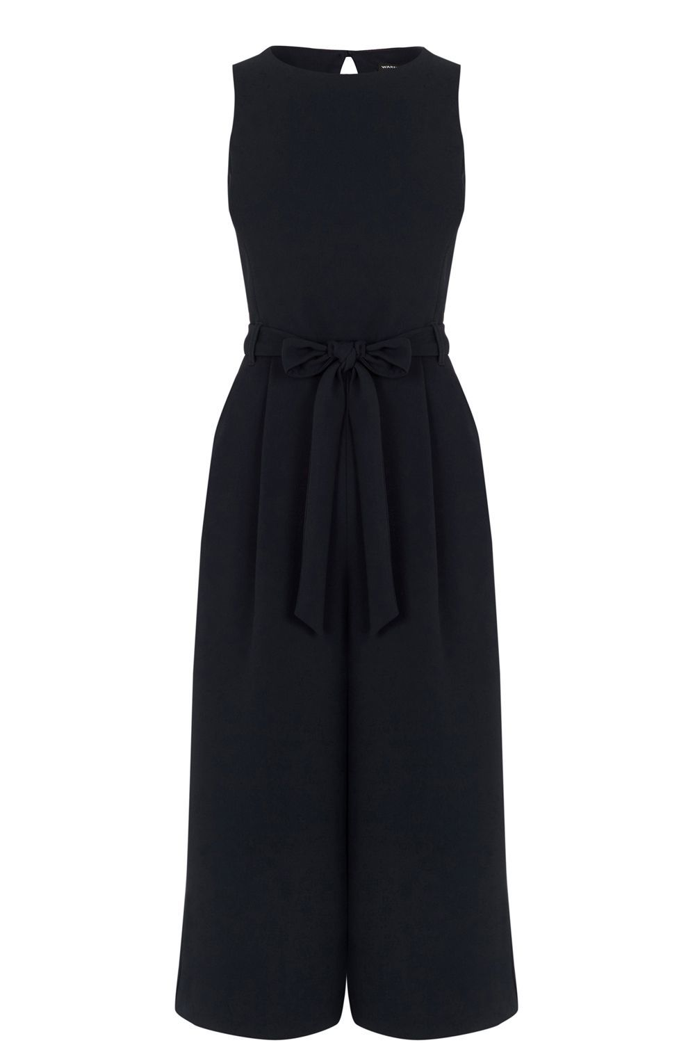 Culotte Jumpsuit, Navy - fit: tailored/fitted; pattern: plain; sleeve style: sleeveless; waist detail: belted waist/tie at waist/drawstring; predominant colour: navy; occasions: evening; length: calf length; fibres: polyester/polyamide - stretch; neckline: crew; sleeve length: sleeveless; texture group: crepes; style: jumpsuit; pattern type: fabric; season: s/s 2016