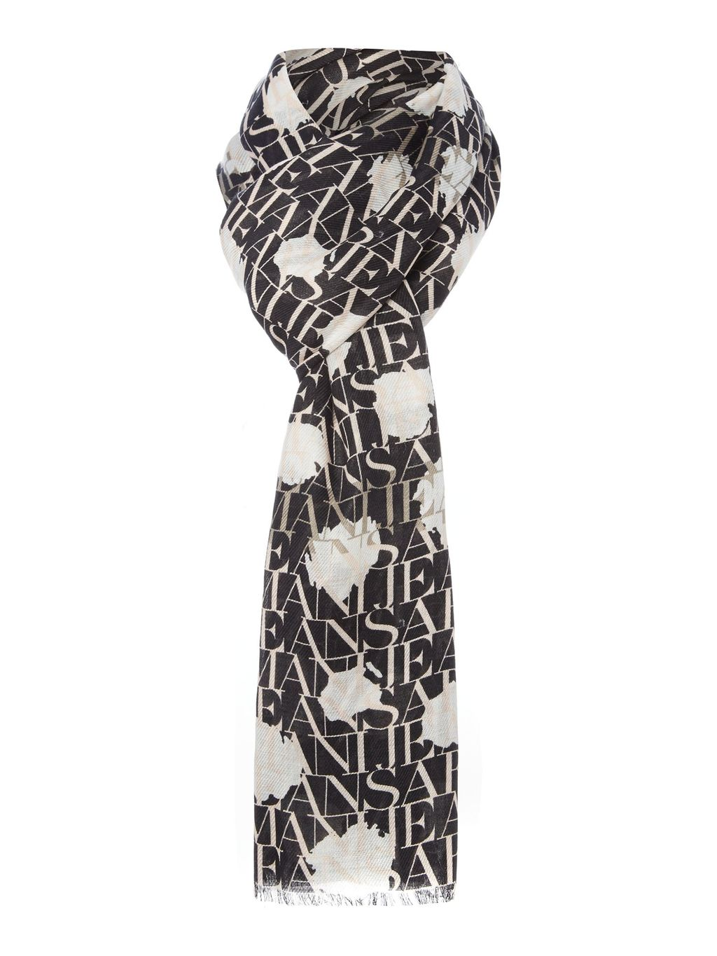 Spot Logo Scarf, Black - secondary colour: white; predominant colour: black; occasions: casual; type of pattern: large; style: regular; size: standard; material: fabric; pattern: patterned/print; season: s/s 2016; wardrobe: highlight