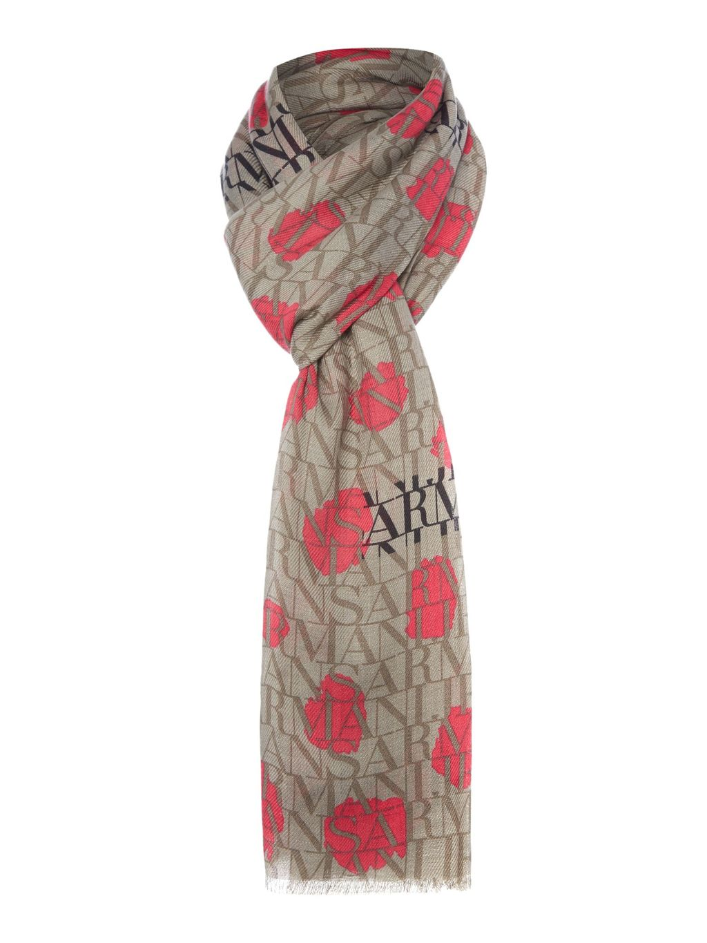 Spot Logo Scarf, Grey - secondary colour: true red; predominant colour: mid grey; occasions: casual, creative work; type of pattern: heavy; style: regular; size: standard; material: fabric; pattern: patterned/print; season: s/s 2016; wardrobe: highlight