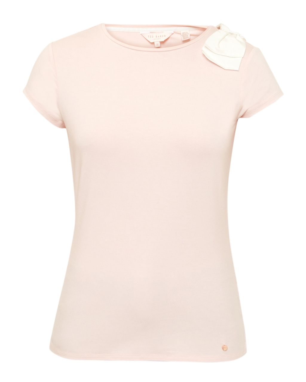 Tuline Oversized Bow T Shirt, Blush - pattern: plain; bust detail: added detail/embellishment at bust; style: t-shirt; predominant colour: blush; occasions: casual; length: standard; fibres: viscose/rayon - stretch; fit: body skimming; neckline: crew; sleeve length: short sleeve; sleeve style: standard; pattern type: fabric; texture group: jersey - stretchy/drapey; embellishment: bow; season: s/s 2016