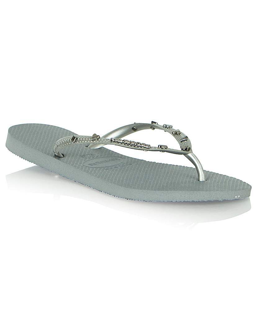 Havi Cards Flip Flop - predominant colour: mid grey; material: plastic/rubber; heel height: flat; embellishment: jewels/stone; heel: block; toe: toe thongs; style: flip flops; occasions: holiday; finish: plain; pattern: plain; season: s/s 2016; wardrobe: highlight