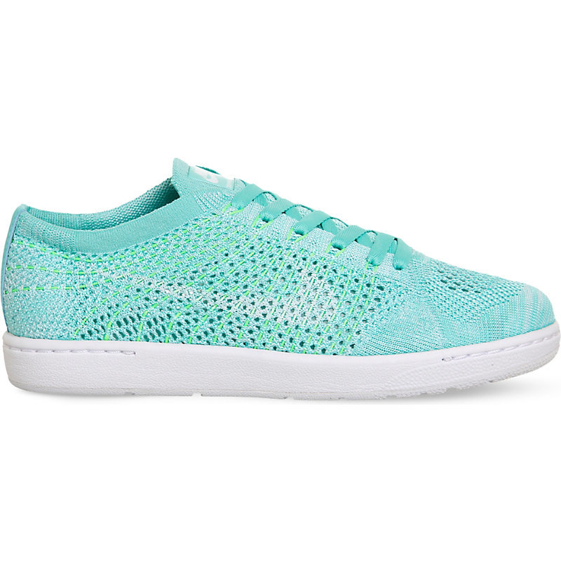 Tennis Classic Ultra Flyknit Trainers, Women's, 4.5, Turquoise White - predominant colour: turquoise; occasions: casual; material: leather; heel height: flat; toe: round toe; style: trainers; finish: plain; pattern: plain; shoe detail: moulded soul; season: s/s 2016