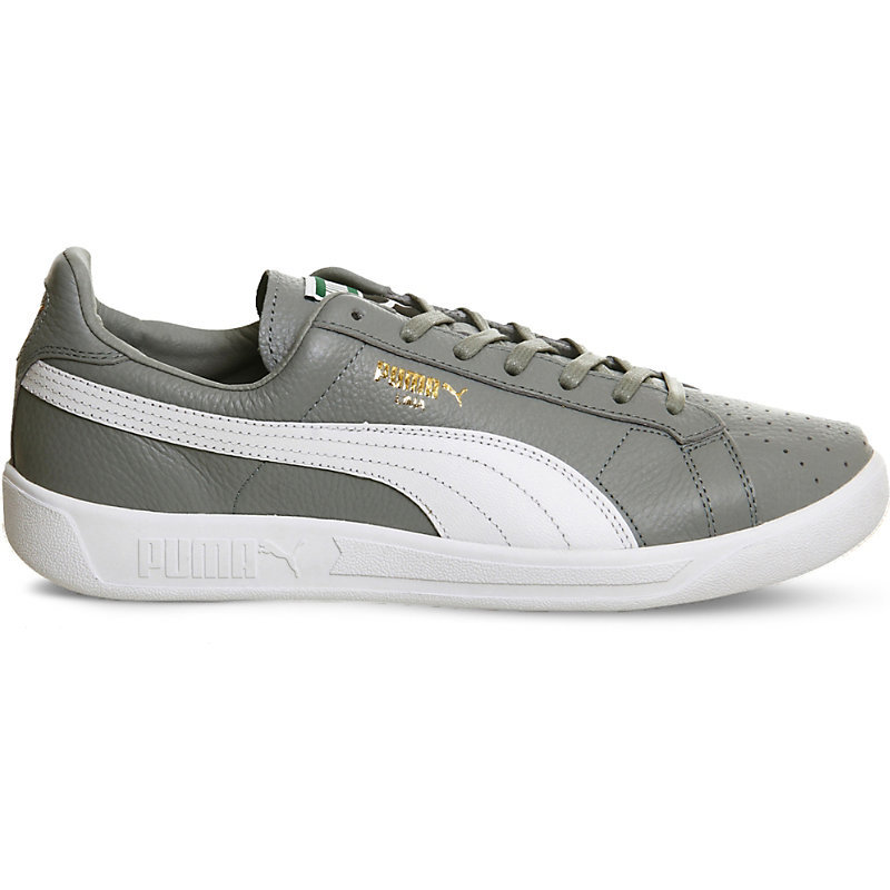 Lima Logo Detail Leather Trainers, Women's, Quarry Pure White - secondary colour: white; predominant colour: mid grey; occasions: casual; material: leather; heel height: flat; toe: round toe; style: trainers; finish: plain; pattern: colourblock; shoe detail: moulded soul; season: s/s 2016; wardrobe: highlight