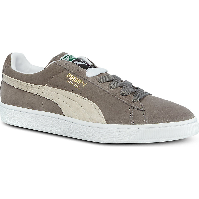 Suede Classic Trainers, Women's, Greywhite - secondary colour: white; predominant colour: mid grey; occasions: casual; material: suede; heel height: flat; toe: round toe; style: trainers; finish: plain; pattern: colourblock; shoe detail: moulded soul; season: s/s 2016