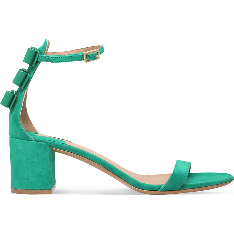 X Edgardo Osorio Connie Suede Heeled Sandals, Women's, Eur 37.5 / 4.5 Uk Women, Dark Green - predominant colour: emerald green; occasions: evening, holiday, creative work; material: suede; heel height: mid; ankle detail: ankle strap; heel: block; toe: toe thongs; style: strappy; finish: plain; pattern: plain; season: s/s 2016