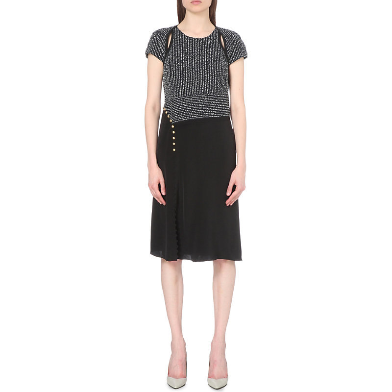Boucle Tweed Cotton Blend Dress, Women's, Blue - length: below the knee; pattern: plain; predominant colour: charcoal; secondary colour: black; occasions: evening; fit: fitted at waist & bust; style: fit & flare; fibres: cotton - mix; neckline: crew; sleeve length: short sleeve; sleeve style: standard; pattern type: fabric; texture group: tweed - light/midweight; multicoloured: multicoloured; season: s/s 2016; wardrobe: event