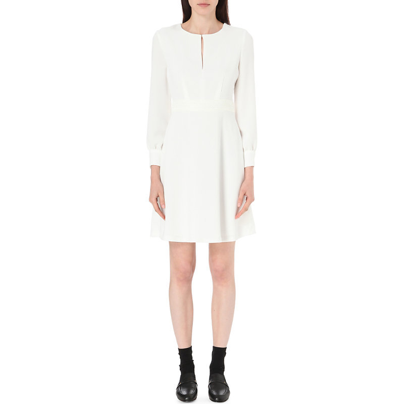 Radieuse Crepe Dress, Women's, White - pattern: plain; predominant colour: white; occasions: evening; length: just above the knee; fit: fitted at waist & bust; style: fit & flare; neckline: peep hole neckline; fibres: polyester/polyamide - 100%; sleeve length: long sleeve; sleeve style: standard; texture group: crepes; pattern type: fabric; season: s/s 2016; wardrobe: event