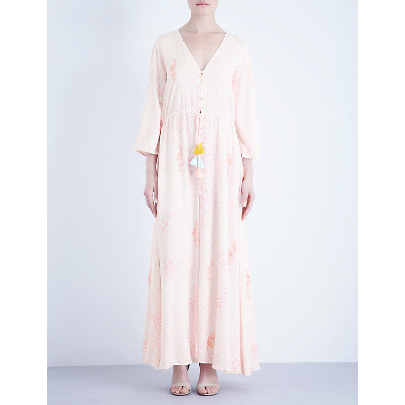 Edge Of The Seventeen Woven Dress, Women's, Pink - neckline: v-neck; fit: loose; style: kaftan; length: ankle length; predominant colour: blush; occasions: casual; fibres: viscose/rayon - 100%; sleeve length: 3/4 length; sleeve style: standard; pattern type: fabric; pattern: florals; texture group: woven light midweight; season: s/s 2016