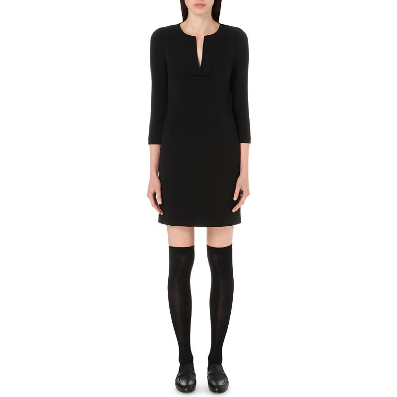 Ringo Stretch Crepe Dress, Women's, Noir - style: shift; neckline: v-neck; pattern: plain; predominant colour: black; occasions: evening; length: just above the knee; fit: body skimming; fibres: polyester/polyamide - stretch; sleeve length: 3/4 length; sleeve style: standard; texture group: crepes; pattern type: fabric; season: s/s 2016; wardrobe: event