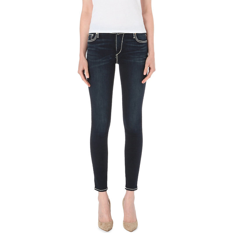 Halle Super Skinny Mid Rise Jeans, Women's, Shady Blue - style: skinny leg; length: standard; pattern: plain; pocket detail: traditional 5 pocket; waist: mid/regular rise; predominant colour: navy; occasions: casual; fibres: cotton - stretch; texture group: denim; pattern type: fabric; season: s/s 2016; wardrobe: basic