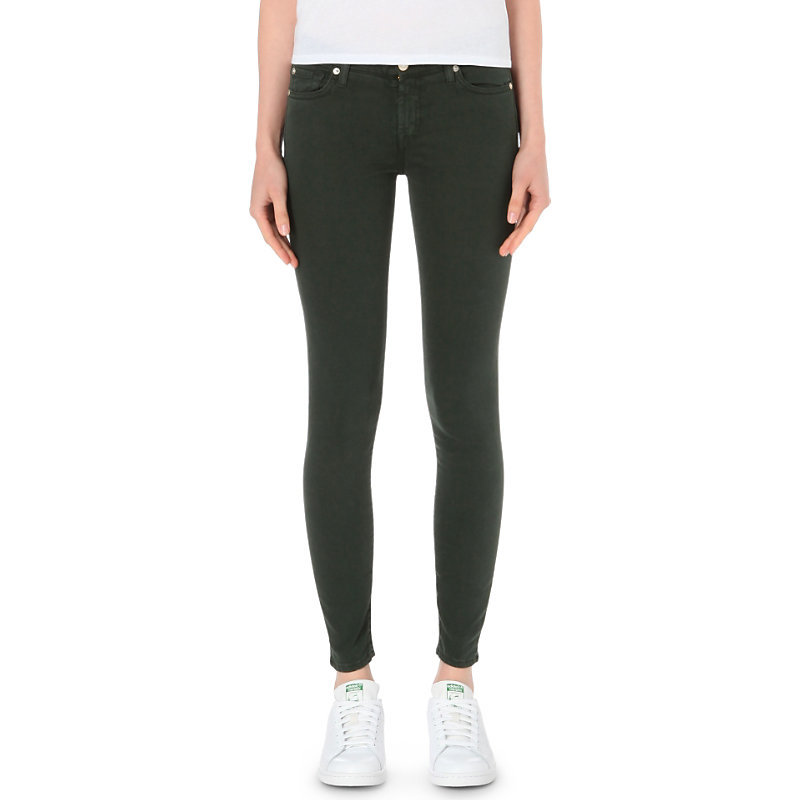 Sateen Skinny Mid Rise Jeans, Women's, Green - style: skinny leg; length: standard; pattern: plain; pocket detail: traditional 5 pocket; waist: mid/regular rise; predominant colour: dark green; occasions: casual; fibres: cotton - stretch; texture group: denim; pattern type: fabric; season: s/s 2016; wardrobe: highlight