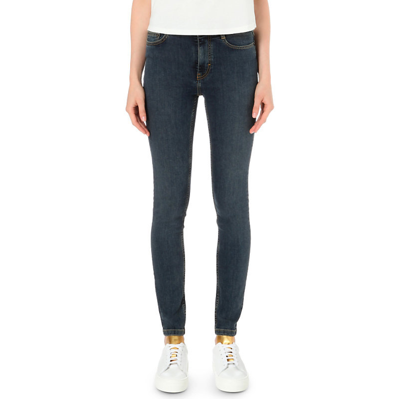 Pika Skinny High Rise Jeans, Women's, Blue - style: skinny leg; length: standard; pattern: plain; pocket detail: traditional 5 pocket; waist: mid/regular rise; predominant colour: navy; occasions: casual; fibres: cotton - stretch; texture group: denim; pattern type: fabric; season: s/s 2016; wardrobe: basic
