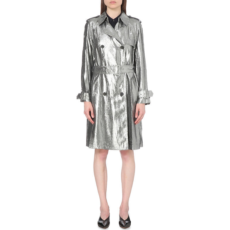 Metallic Crepe Trench Coat, Women's, White - pattern: plain; style: trench coat; length: on the knee; collar: standard lapel/rever collar; predominant colour: silver; fit: tailored/fitted; fibres: polyester/polyamide - mix; waist detail: belted waist/tie at waist/drawstring; sleeve length: long sleeve; sleeve style: standard; texture group: structured shiny - satin/tafetta/silk etc.; collar break: medium; pattern type: fabric; occasions: creative work; season: s/s 2016