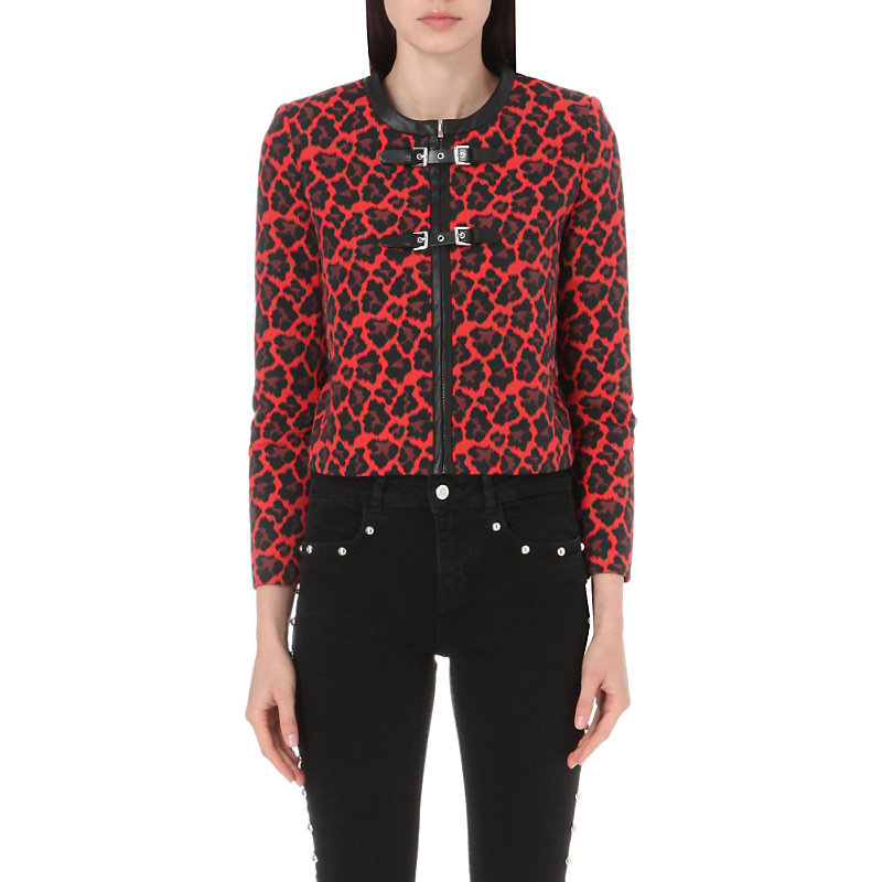 Violette Leopard Print Jacquard Jacket, Women's, Red - collar: round collar/collarless; style: boxy; predominant colour: true red; secondary colour: black; occasions: evening, creative work; length: standard; fit: straight cut (boxy); fibres: wool - mix; sleeve length: long sleeve; sleeve style: standard; collar break: high; pattern type: fabric; pattern size: standard; pattern: animal print; texture group: woven light midweight; multicoloured: multicoloured; season: s/s 2016; wardrobe: investment