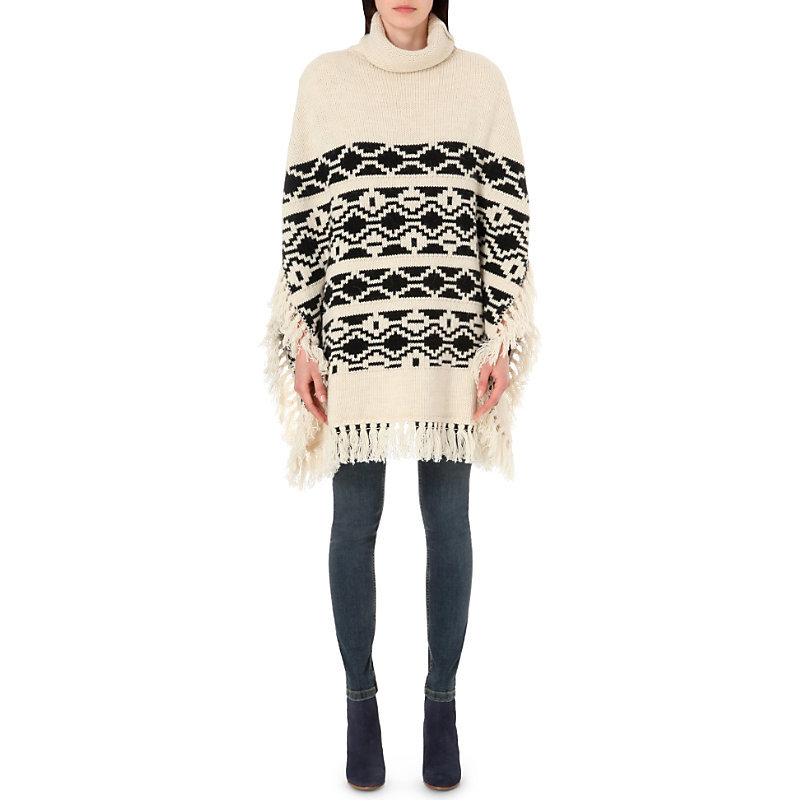 Marcadet Knitted Poncho, Women's, White - length: below the bottom; collar: funnel; fit: loose; style: poncho/blanket; predominant colour: ivory/cream; secondary colour: black; occasions: casual, creative work; fibres: acrylic - mix; sleeve length: long sleeve; sleeve style: standard; texture group: knits/crochet; collar break: high; pattern type: knitted - fine stitch; pattern: patterned/print; season: s/s 2016; wardrobe: highlight