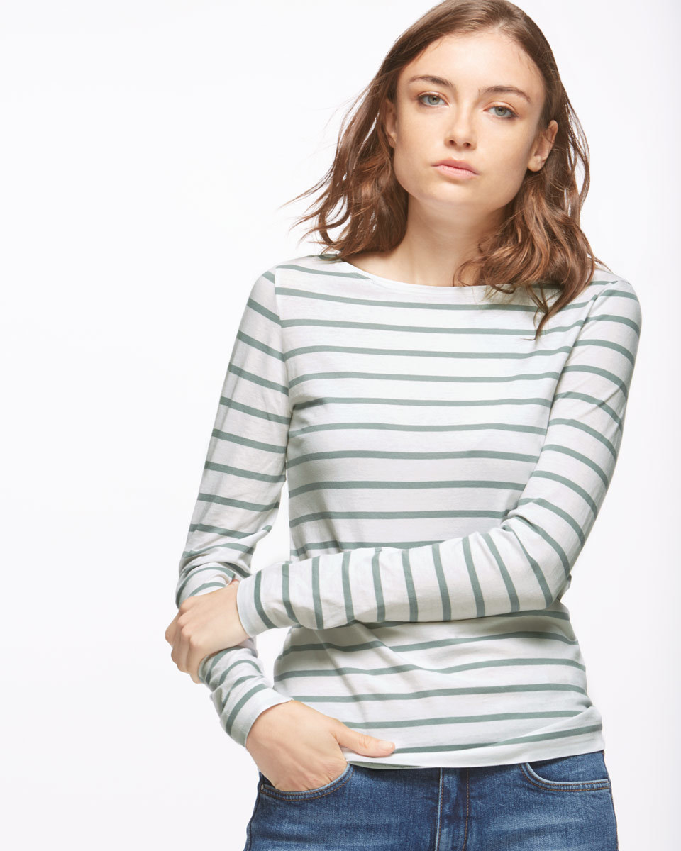 Retro Stripe Jersey Top - pattern: horizontal stripes; predominant colour: white; secondary colour: pale blue; occasions: casual; length: standard; style: top; fibres: cotton - 100%; fit: body skimming; neckline: crew; sleeve length: long sleeve; sleeve style: standard; pattern type: fabric; texture group: jersey - stretchy/drapey; multicoloured: multicoloured; season: s/s 2016