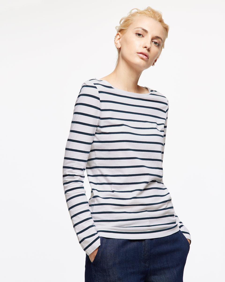 Retro Stripe Jersey - pattern: horizontal stripes; predominant colour: white; secondary colour: navy; occasions: casual; length: standard; style: top; fibres: cotton - 100%; fit: body skimming; neckline: crew; sleeve length: long sleeve; sleeve style: standard; pattern type: fabric; texture group: jersey - stretchy/drapey; multicoloured: multicoloured; season: s/s 2016; wardrobe: basic