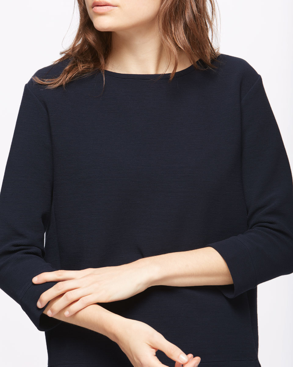 Ottoman Pullover Jumper - neckline: round neck; pattern: plain; style: sweat top; predominant colour: navy; occasions: casual; length: standard; fibres: cotton - stretch; fit: body skimming; sleeve length: 3/4 length; sleeve style: standard; pattern type: fabric; texture group: jersey - stretchy/drapey; season: s/s 2016; wardrobe: basic