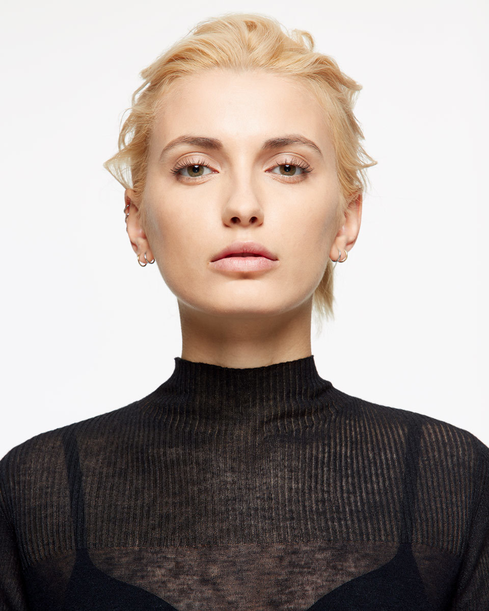 Sheer Yoke Jumper - pattern: plain; neckline: roll neck; style: standard; predominant colour: black; occasions: casual; length: standard; fibres: wool - 100%; fit: standard fit; sleeve length: long sleeve; sleeve style: standard; texture group: knits/crochet; pattern type: knitted - fine stitch; season: s/s 2016; wardrobe: basic