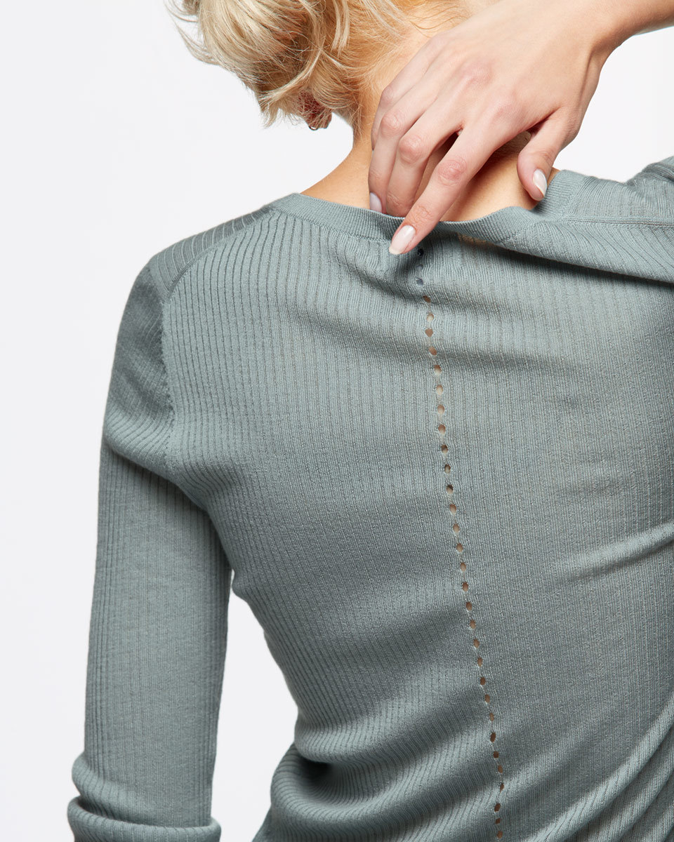 Rib Jumper With Back Pointelle - pattern: plain; style: standard; predominant colour: pistachio; occasions: casual; length: standard; fibres: wool - 100%; fit: slim fit; neckline: crew; sleeve length: long sleeve; sleeve style: standard; texture group: knits/crochet; pattern type: knitted - fine stitch; season: s/s 2016; wardrobe: highlight