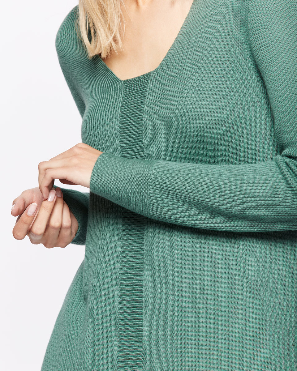 Slim Rib V Neck Jumper - neckline: v-neck; pattern: plain; length: below the bottom; style: standard; predominant colour: dark green; occasions: casual; fibres: wool - 100%; fit: slim fit; sleeve length: long sleeve; sleeve style: standard; texture group: knits/crochet; pattern type: knitted - fine stitch; season: s/s 2016; wardrobe: highlight