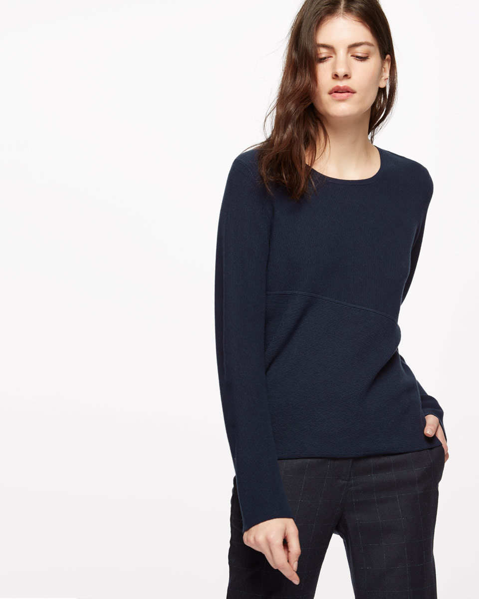 Tranverse Long Sleeved Rib Jumper - pattern: plain; style: standard; predominant colour: navy; occasions: casual; length: standard; fit: slim fit; neckline: crew; sleeve length: long sleeve; sleeve style: standard; texture group: knits/crochet; pattern type: knitted - fine stitch; fibres: viscose/rayon - mix; season: s/s 2016