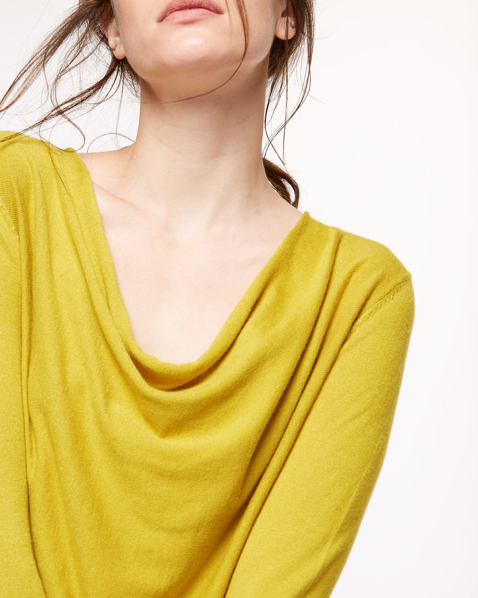 Luxury Blend Cowl Neck - neckline: cowl/draped neck; pattern: plain; predominant colour: yellow; occasions: casual; length: standard; style: top; fit: body skimming; sleeve length: long sleeve; sleeve style: standard; texture group: knits/crochet; pattern type: knitted - fine stitch; fibres: viscose/rayon - mix; season: s/s 2016; wardrobe: highlight