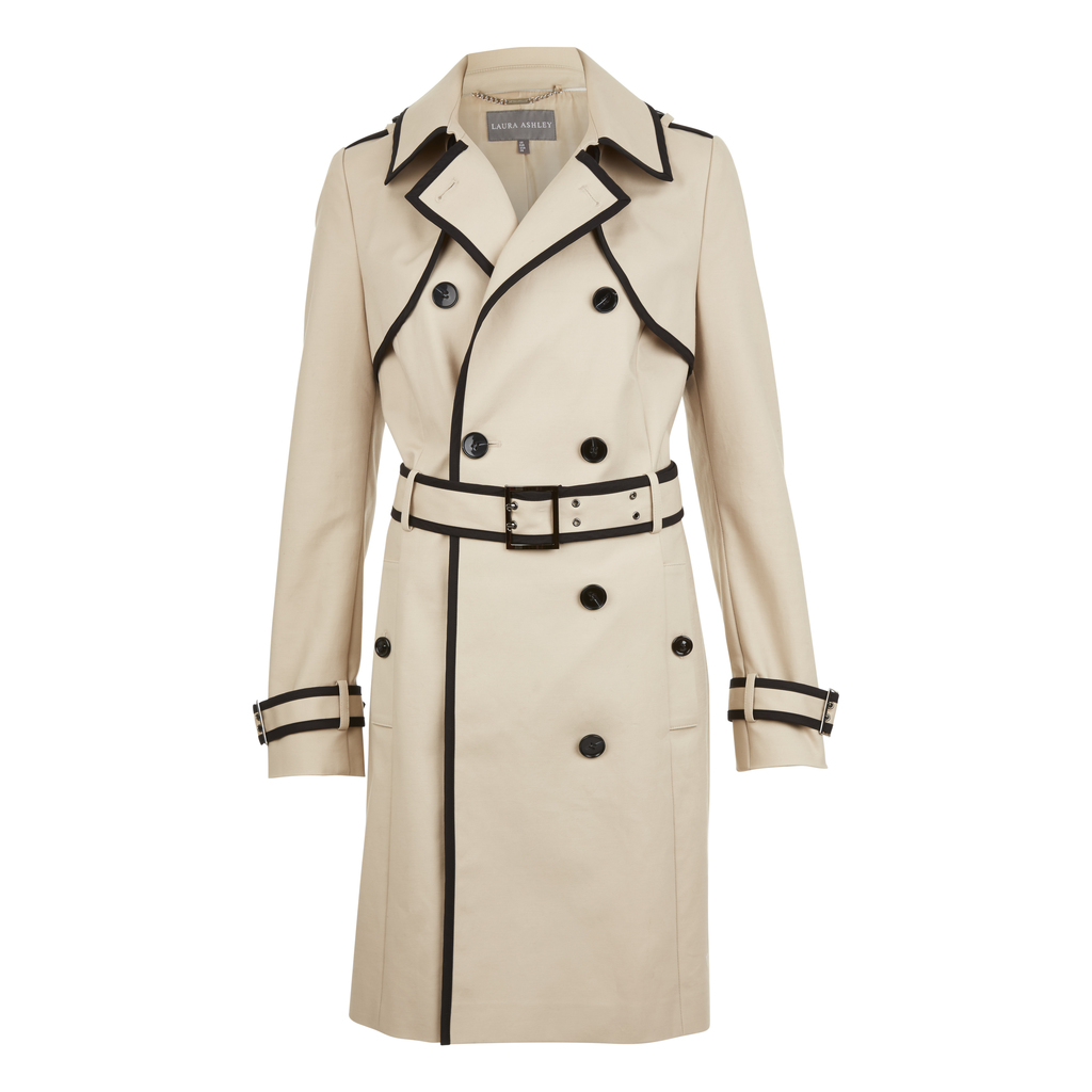 Contrast Piping Trench Coat - pattern: plain; style: trench coat; length: on the knee; collar: standard lapel/rever collar; predominant colour: stone; secondary colour: black; occasions: work, creative work; fit: tailored/fitted; fibres: cotton - stretch; waist detail: belted waist/tie at waist/drawstring; sleeve length: long sleeve; sleeve style: standard; texture group: technical outdoor fabrics; collar break: medium; pattern type: fabric; season: s/s 2016
