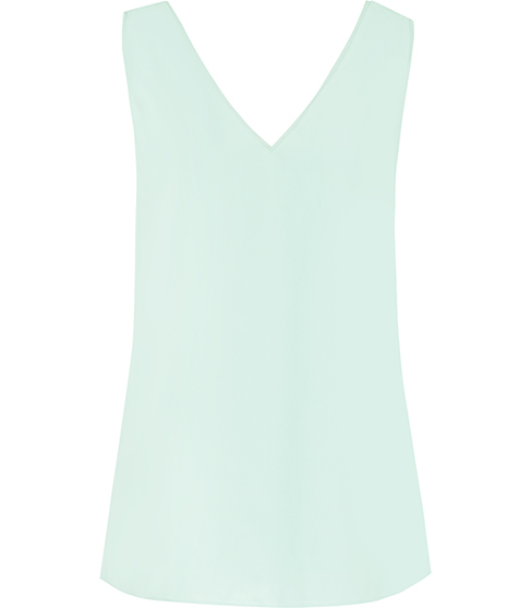 Jasmine Button Back Vest - neckline: v-neck; pattern: plain; sleeve style: sleeveless; style: vest top; predominant colour: pistachio; occasions: casual; length: standard; fibres: viscose/rayon - 100%; fit: body skimming; sleeve length: sleeveless; pattern type: fabric; texture group: jersey - stretchy/drapey; season: s/s 2016; wardrobe: highlight