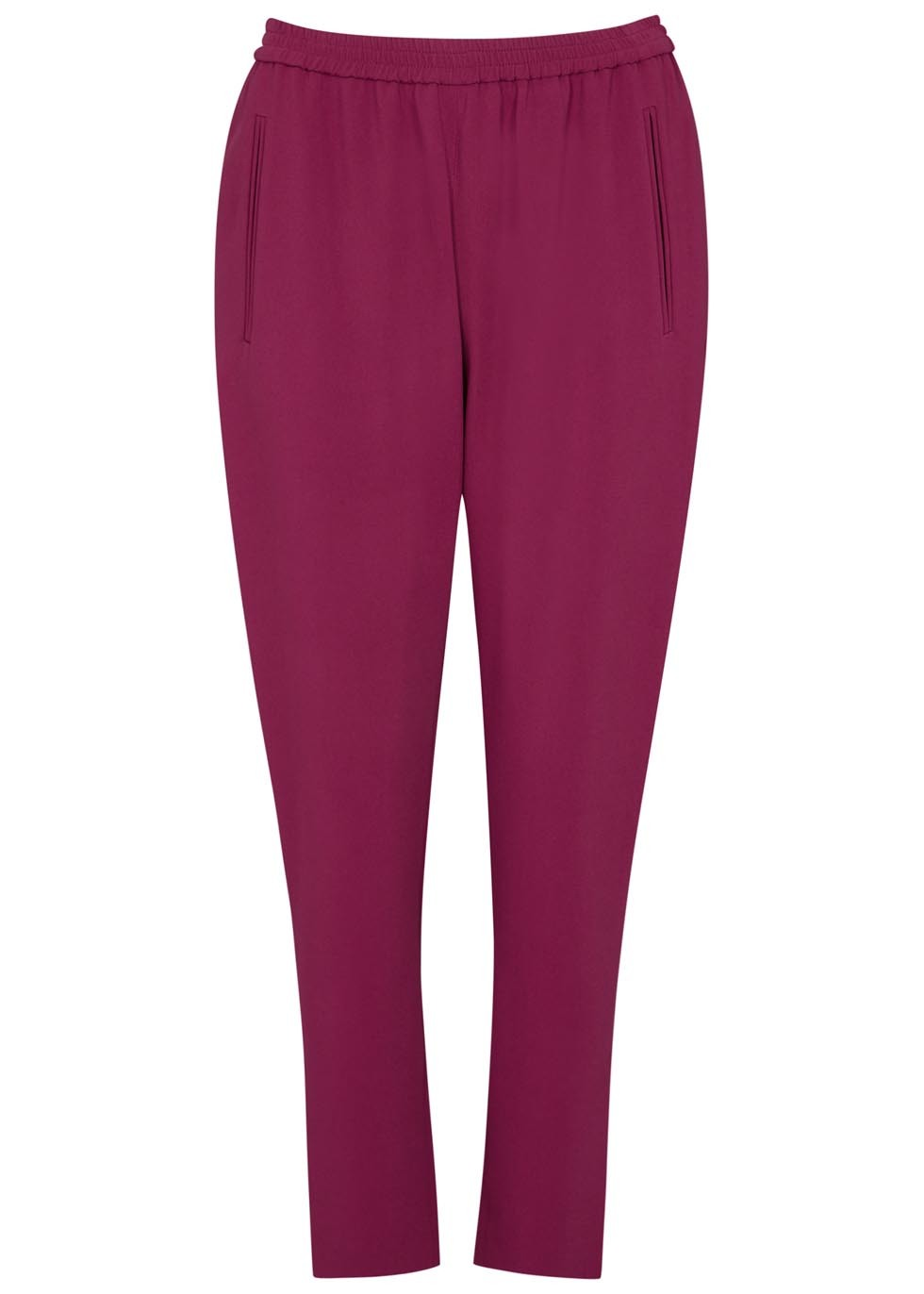 Tamara Plum Cady Jogging Trousers - pattern: plain; style: peg leg; waist: high rise; predominant colour: magenta; length: ankle length; fibres: polyester/polyamide - 100%; waist detail: feature waist detail; texture group: crepes; fit: tapered; pattern type: fabric; occasions: creative work; season: s/s 2016; wardrobe: highlight