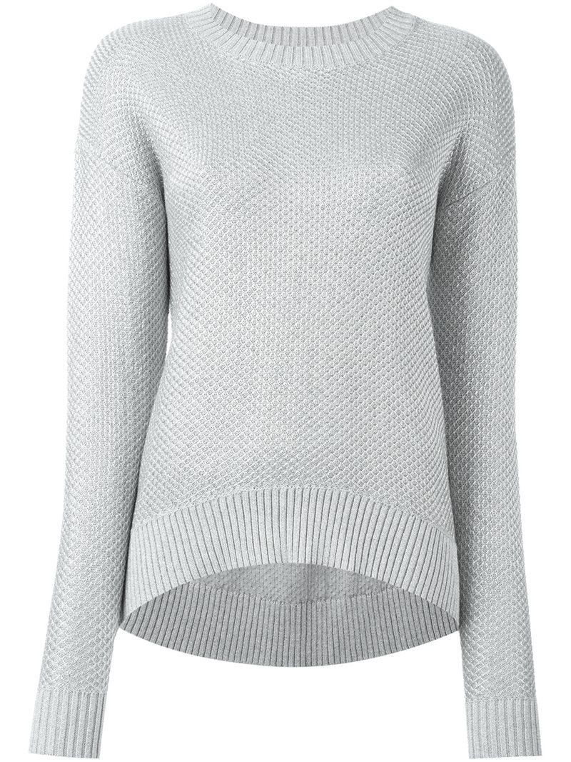 Metallic (Grey) Thread Jumper, Women's, Size: Xs - pattern: plain; style: standard; predominant colour: light grey; occasions: casual; length: standard; fibres: cotton - mix; fit: slim fit; neckline: crew; sleeve length: long sleeve; sleeve style: standard; texture group: knits/crochet; pattern type: knitted - fine stitch; season: s/s 2016; wardrobe: basic