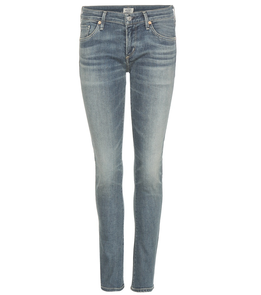 Racer Distressed Skinny Jeans - style: skinny leg; length: standard; pattern: plain; pocket detail: traditional 5 pocket; waist: mid/regular rise; predominant colour: denim; occasions: casual; fibres: cotton - stretch; jeans detail: washed/faded; texture group: denim; pattern type: fabric; season: s/s 2016; wardrobe: basic